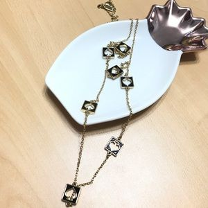 Kate Spade - gold and black spade long necklace